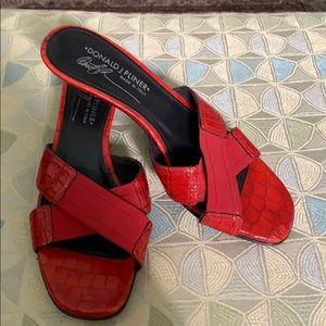 Red leather slides with kitten heel